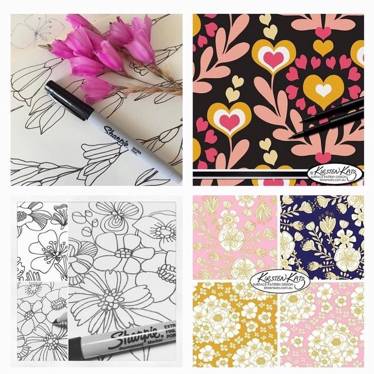Another montage from my portfolio looking back #kirstenkatzdesign #surfacedesign #printandpatterndesign #illustration #drawing  #handrawndesign #textiledesign #linedrawing #blueprintshows2018 #artlicensing