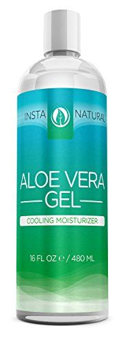 InstaNatural Aloe Vera Gel - Best Pure, Organic & Cold-Pressed Moisturizer for Face & Hair - Great for Dry, Damaged & Aging Skin - Works on Sunburns, Acne, Razor Bumps & Insect Bites - 16 OZ  //Price: $ & FREE Shipping //     #hair #curles #style #haircare #shampoo #makeup #elixir