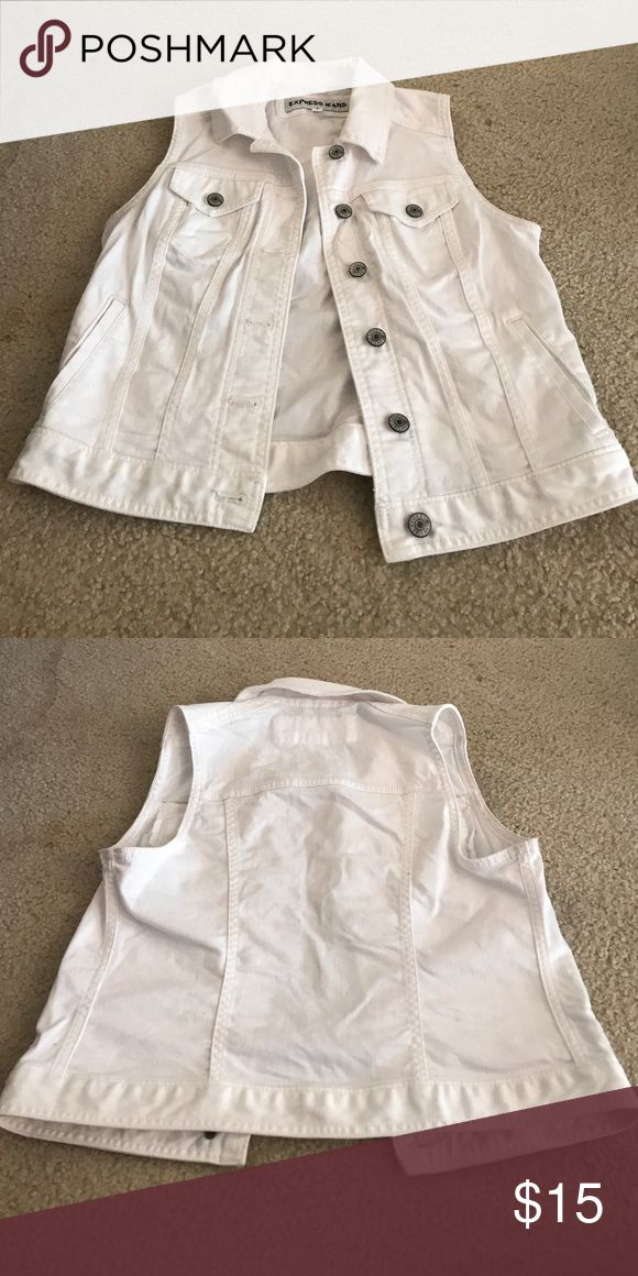 Express White Denim Vest Cute over dresses or jeans & a tank! Express Jackets & Coats Vests