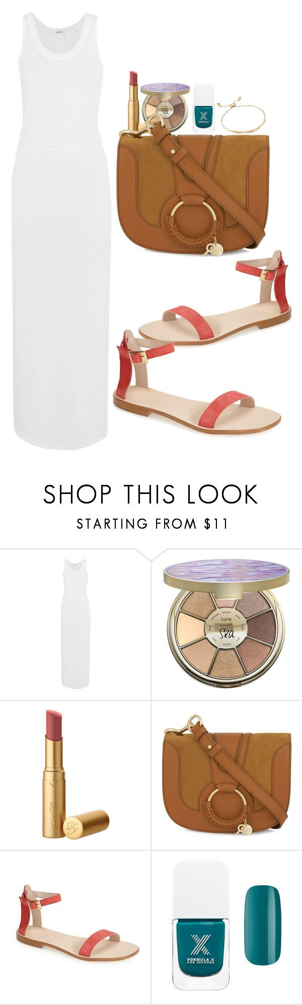 """""""Untitled #3674"""" by abigailtaylor ❤ liked on Polyvore featuring Monrow, tarte, See by Chloé, Cornetti, Formula X and Kendra Scott"""