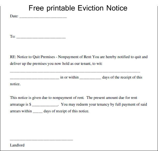 Free Printable Eviction Notice Template Eviction Notice