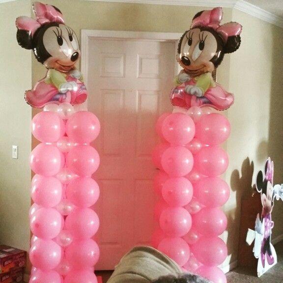 Minnie mouse balloon columns balloon arches pinterest for Balloon decoration minnie mouse