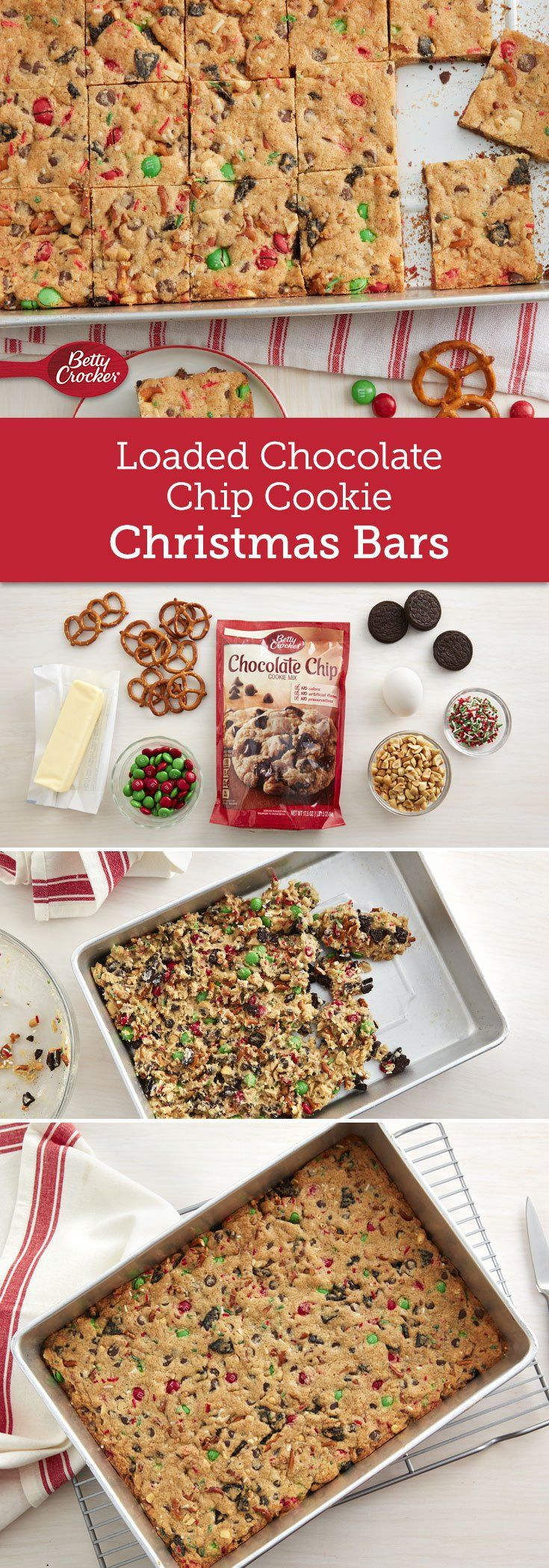 A sweet and salty holiday cookie bar that is loaded with lots of goodies! Loaded with Oreos™, pretzels, M&Ms™ and more, this recipe will be a major hit this holiday season!