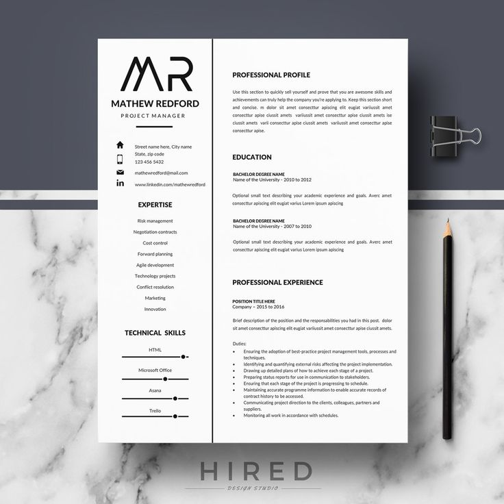 Professional Resume Templates; Minimalist Resume, CV Template For Word;  Modern Resume, CV Template; Resume, CV Design; Instant Download  Minimalist Resume Template