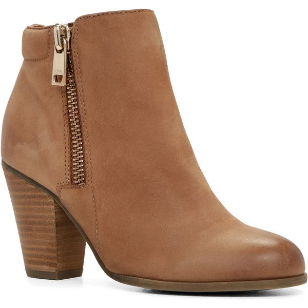 Boots ($85) ❤ liked on Polyvore featuring shoes, boots, ankle booties, footwear, heels, zapatos, ankle boots, camel, short heel boots and camel ankle boots