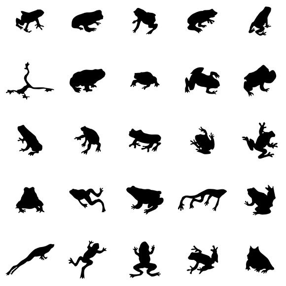 Frog silhouettes set ~ Icons on Creative Market
