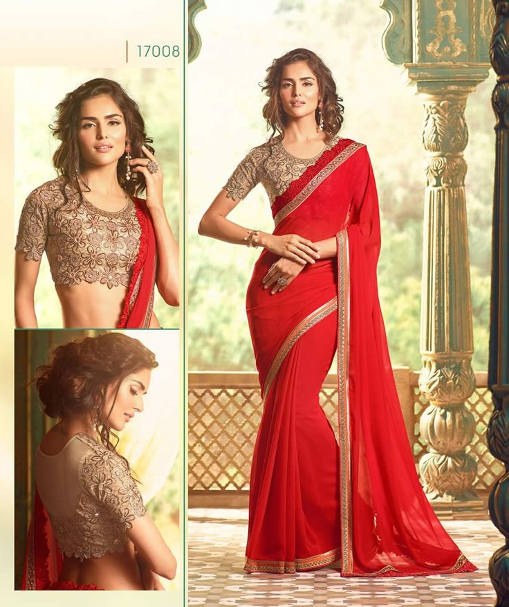 buy saree online Red Colour Georgette Party Wear Saree And Heavy Blouse Work Buy Saree online - Buy Sarees online
