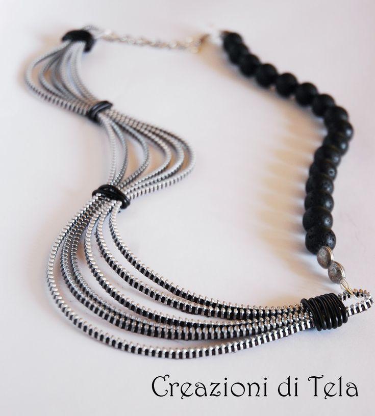 Simona Tela - Creazioni Artigianali: Collane lunghe con zip e perle