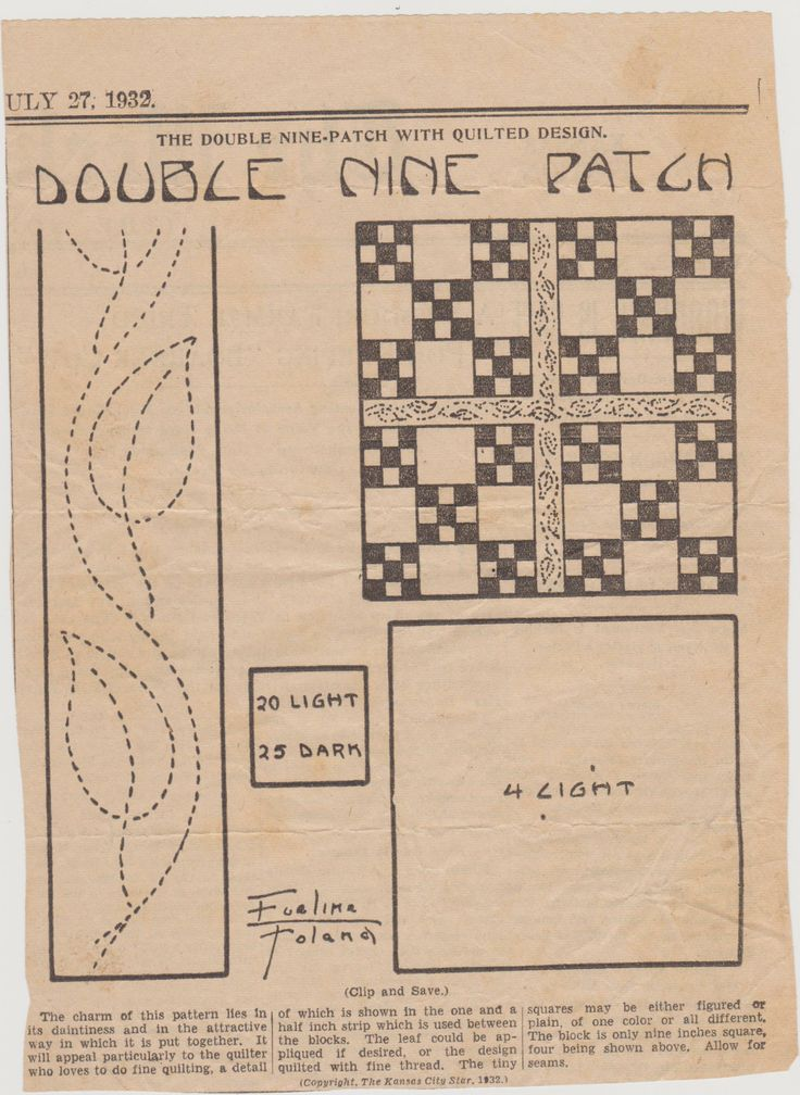 Double Nine Patch  quilt pattern from The Weekly Kansas City Star July 27, 1932