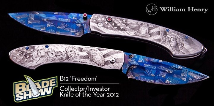 """Blade Show's Collector/Investor 2012 Knife of the Year!! The B12 Freedom knife by William Henry Studio celebrates the US & features a heat-blued carbon 'American Flag' damascus steel blade, the hand-engraved stainless steel - """"Bottega Incisioni"""" handle features Mount Rushmore & bald eagle on one side, & the Statue of Liberty & Liberty Bell on the other. Finished with Flush mounted rubies in 18k yellow gold bezels. Available at www.brockhausjewelry.com or 405.321.4228 Norman, Oklahoma, USA"""