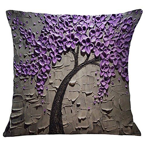 "Ideal Textiles, Butterfly Cushion Cover, Heavy Duty Jacquard, Plum Cushion Covers, 18"" x 18"", 45cm x 45cm"