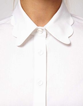 white shirt with scallop collar