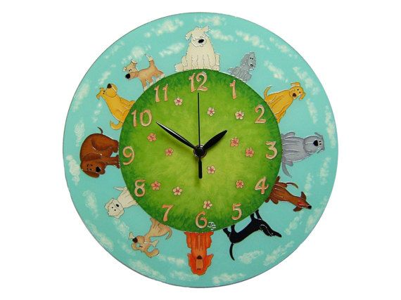 Dog Wall Clock, Large, Children's Funny Dog Home decor, Kids room, Kids Clock,  Nursery Decor