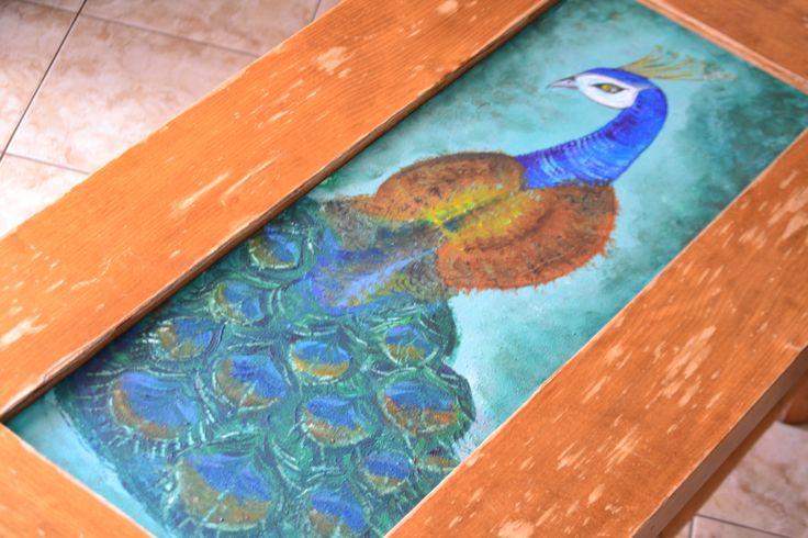 Hand painted table - peackok