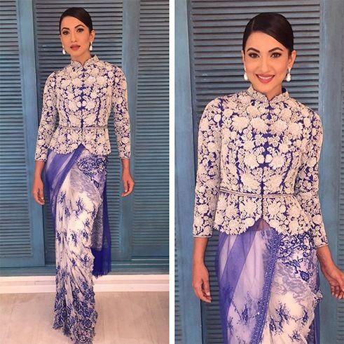 Model turned Actor Gauhar Khan in a jacket style Saree by designer Rabani and Rakha.