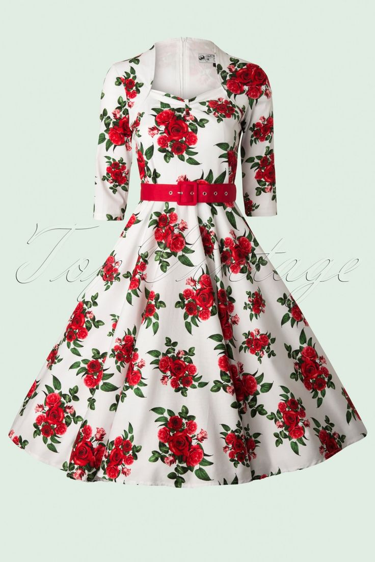 Pin Up Dresses | Pin Up Clothing 50s Eternity Roses Swing Dress in White and Red £59.25 AT vintagedancer.com