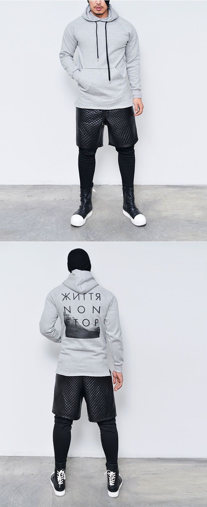 Bottoms :: Sweatpants :: Diamond Quilting Leggins Built-in Baggy-Sweatpants 154 - Mens Fashion Clothing For An Attractive Guy Look