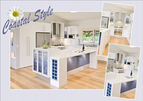 """COASTAL STYLE It's cool, comfortable and effortlessly chic. With lots of whites, pastel accents and bleached timbers - Coastal is all the colours of the Australian summer. This kitchen - Soft """"Satin White"""" doors in Albedor's """"Holly"""" design. Visit our website for more inspiring design ideas www.albedor.com.au"""