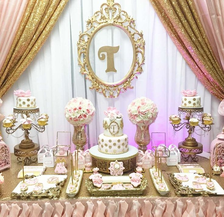 Gorgeous gold and pink baby shower party! See more party planning ideas at CatchMyParty.com!