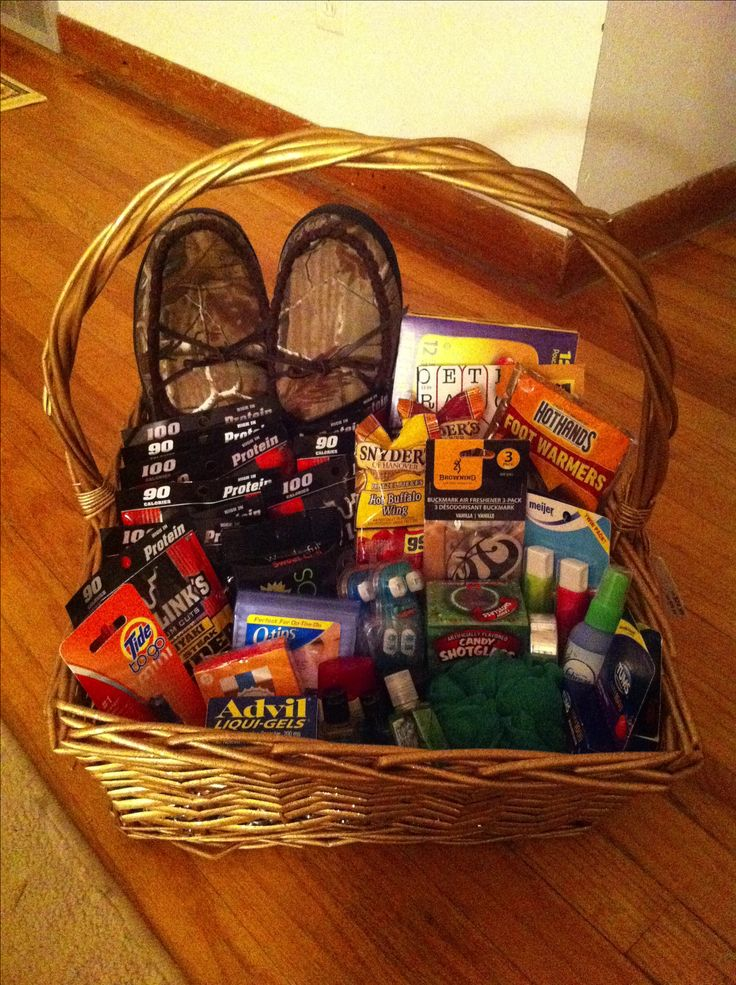 gift basket for a truck driver or boyfriend, all the essentials. hand/foot warmers, travel size toiletries, beef jerky, nuts, word search, duct tape, first aid kit and whatever else they like!