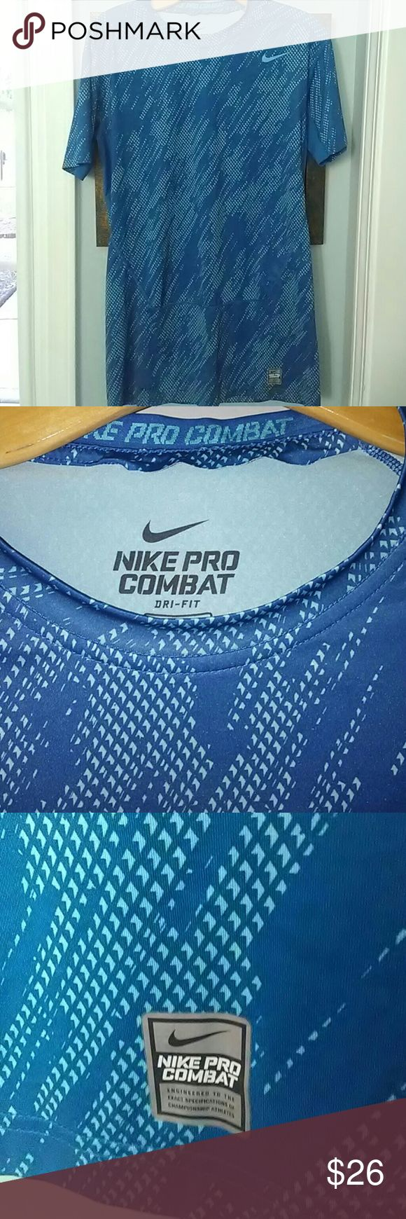 NIKE PRO COMBAT COMPRESSION TEE New without tags. Very pretty blue. NIKEPRO COMBAT Shirts Tees - Short Sleeve