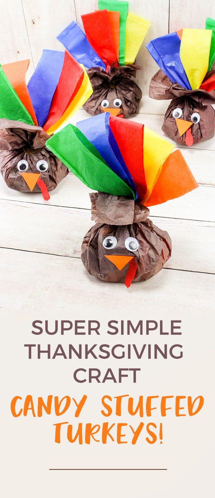 Thanksgiving Craft Candy Stuffed Turkey