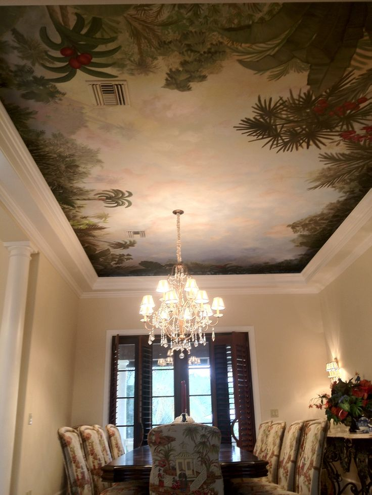 99 best interior trompe l 39 oeil murals images on pinterest for Ceiling mural decal