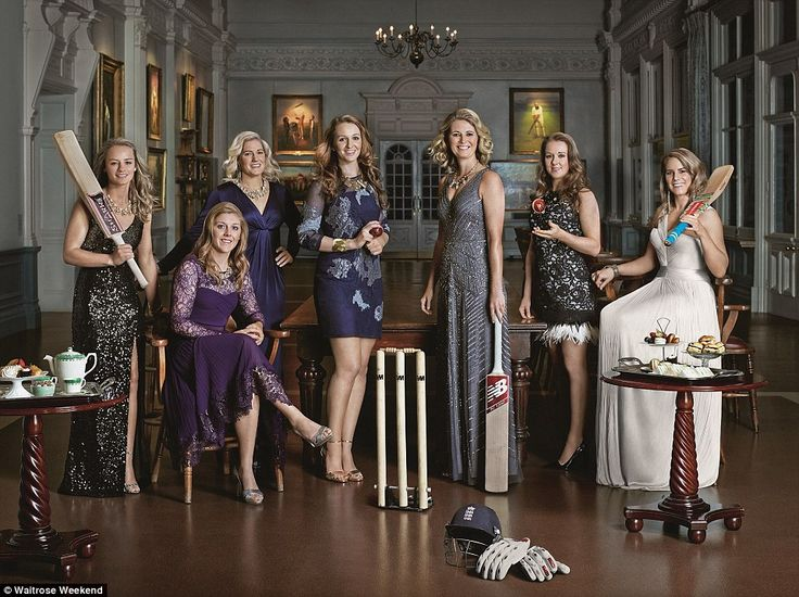The MCC maidens: (From left) Danielle Wyatt, 23, vice-captain Heather Knight, 24, Katherine Brunt, 29, Kate Cross, 23, captain Charlotte Edwards, 35, Becky Grundy, 24 and Lauren Winfield, 24, in the Long Room at Lord's cricket ground