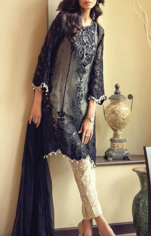 Buy Black/Cream Embroidered Chiffon Dress by Maria B. 2015.