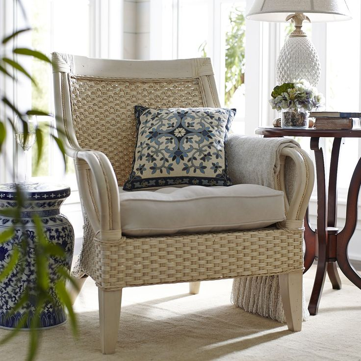 Temani sports a sturdy mahogany frame clad in natural, hand-woven rattan with an antique white finish. A wide, gently curved back and flared rattan pole armrests leave plenty of wiggle room. Personalize it with your favorite cushions and pillows. We know where you can get some.