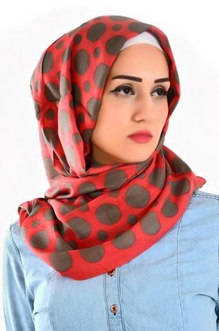 Red & black cotton shawl, ideal for the casual wearing and the daily use. #islamicfashion #jiabstyle #hijabi #hijab #veil #shawl #muhajabah #hijabista