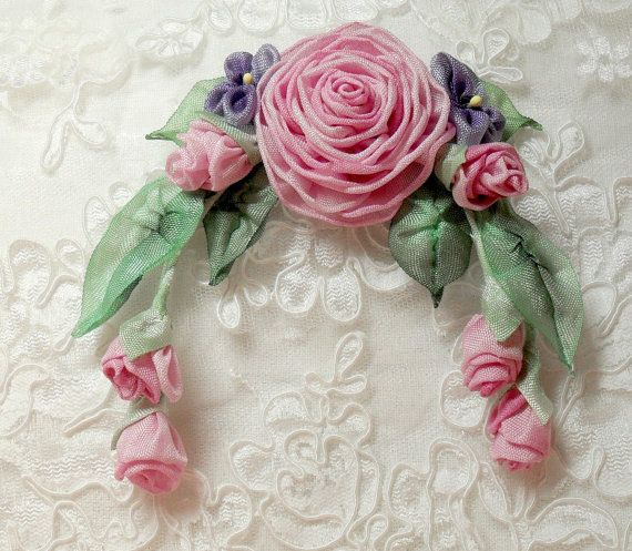 French Ribbonwork Pink Roses With Rosebuds by lambsandivydesigns