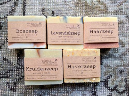 Botma & van Bennekom Boszeep, Lavendelzeep, Haarzeep, Kruidenzeep en Haverzeep