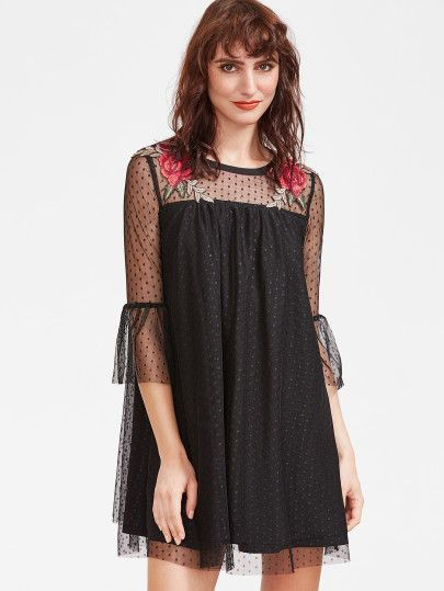 Black Embroidered Rose Applique Dotted Mesh Overlay Sheer Sleeve Dress