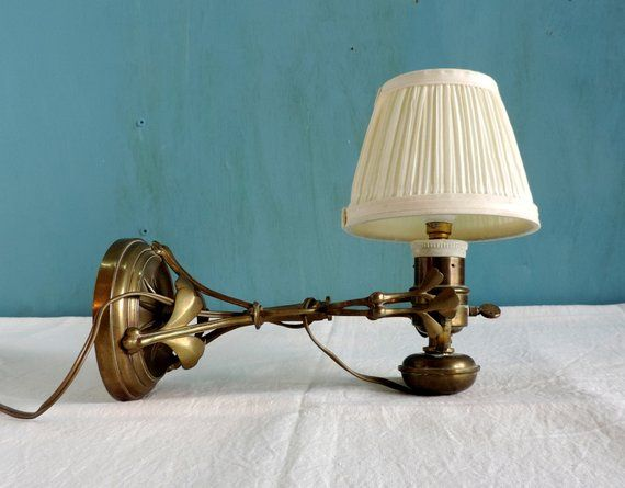 A Pair of Vintage Heavy Bronze Sconces Light Fixture /& Pink Pressed Glass Shade