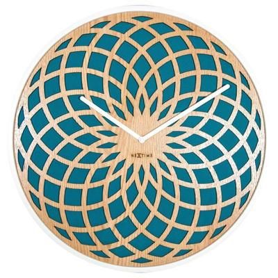 nextime horloge murale sun small bois turquoise 35 cm. Black Bedroom Furniture Sets. Home Design Ideas