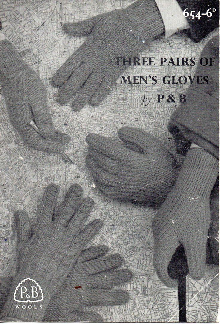 Mens velvet gloves - Mens Gloves Knitting Pattern 1950s 4 Needles Patterned Gloves Dk 8 Ply 4 Ply Mens Knitting Patterns Pdf Instant Download