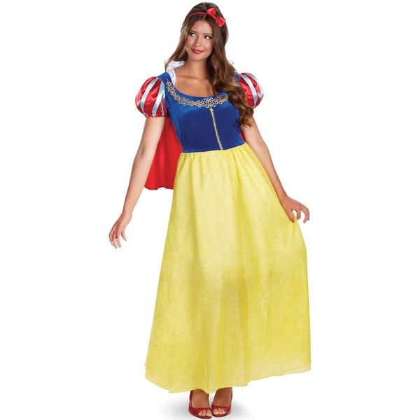 Disney Princess Womens Snow White Deluxe Costume (2,945 INR) ❤ liked on Polyvore featuring costumes, halloween costumes, snow white evil queen costume, snow white costume, adult women costumes, fairy costume and princess costumes