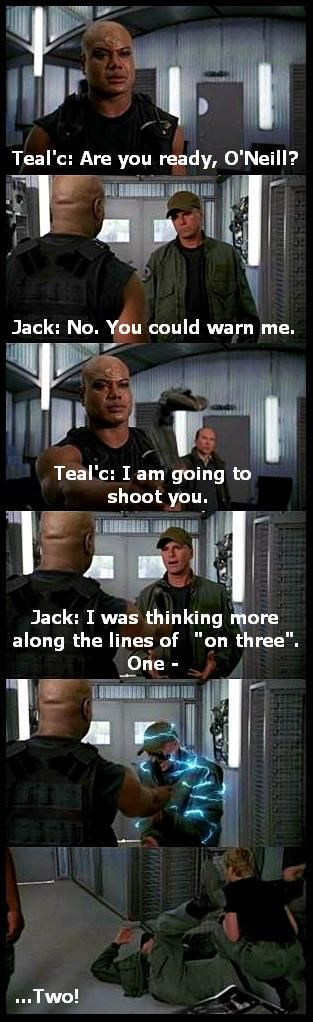 Scene from 'Prodigy'.  A swarm of alien bugs have trapped SG-1 in a research lab.  After learning that the entities can be deflected by altering the amount of energy surrounding objects, the Team devises a plan to reach the 'Gate.  Unfortunately said plan requires Teal'c to zat the Colonel!