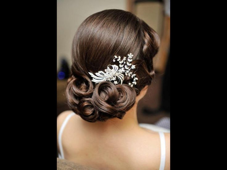 Textured chignon, with finger waves down the side vintage wedding hair bridal brunette curls