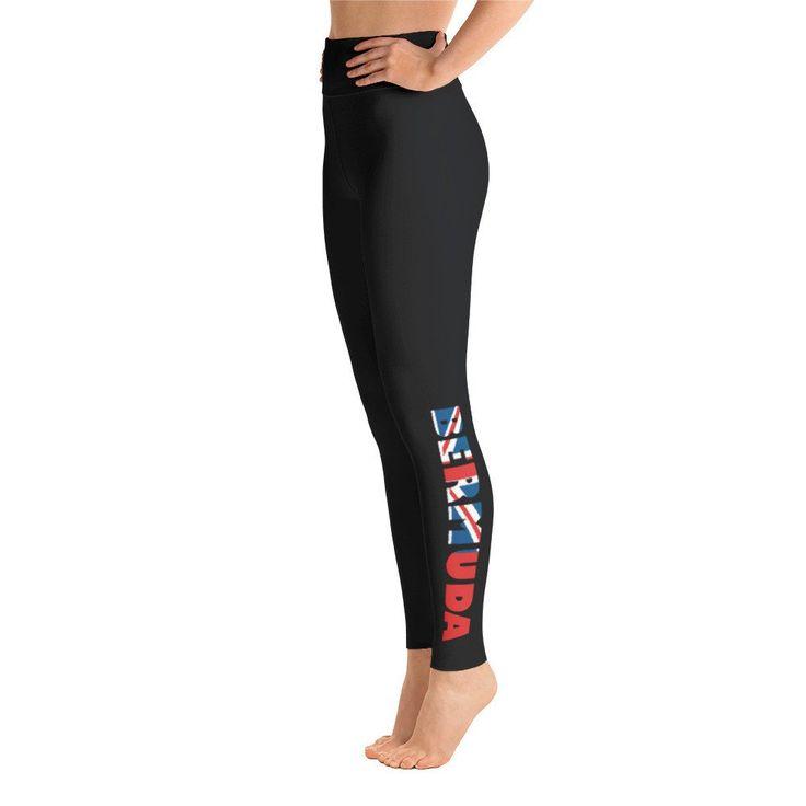 """Bermuda Yoga Leggings - Black  Black Yoga Leggings with Saying """"BERMUDA"""" using the Bermuda Flag - Workout Leggings - Leggings For Women - Black Leggings - Printed Leggings - Leggings - Full Length Leggings - Workout Pants - Fitness Leggings - Gym Leggings - Activewear bottoms - Activewear Leggings - Luxury Leggings - Comfortable Leggings - Yoga Leggings"""