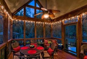 Rustic Porch with Wrap around porch, Transom window, Screened porch, Gazebo, World Market Metal ...