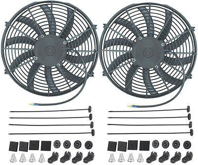 """Dual 14"""" Inch Electric Fans 12V Auto Radiator Cooler Fan 90W Motor Curved Blade"""