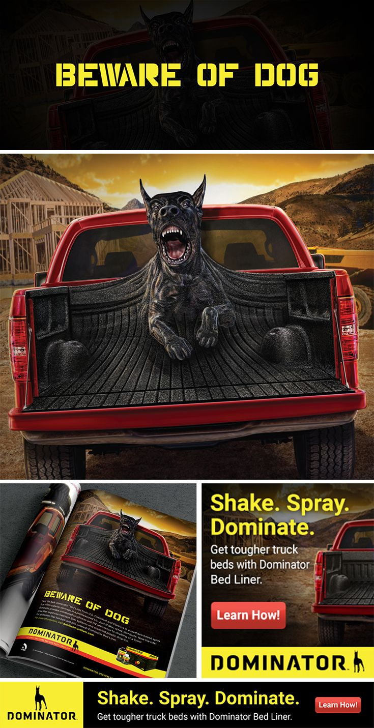 Integrated campaign for Dominator Truck Bed Liner. Created by whitespace-creative.com in Akron, OH.