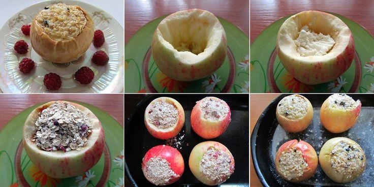 Ar auzu pārslām un biezpienu pildīti cepti āboli