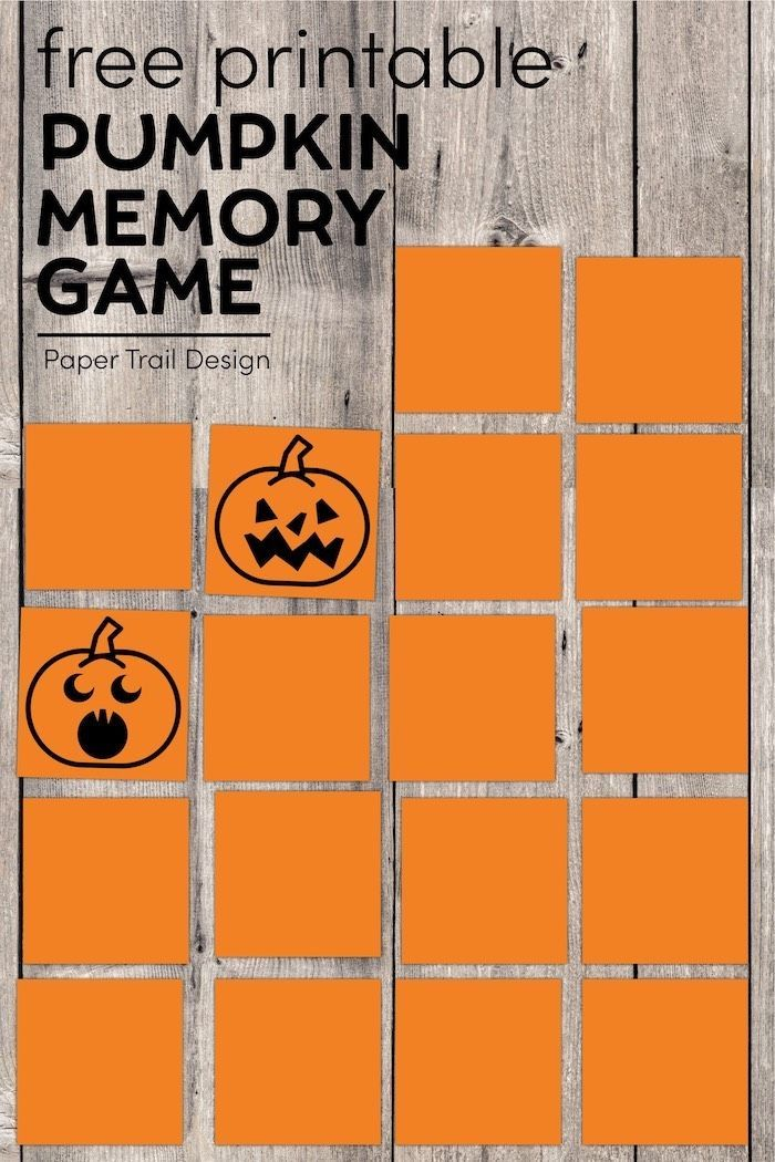 Halloween 2020 In Memory Of Halloween Pumpkin Memory Game For Kids | Paper Trail Design in