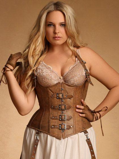Steampunk Plus Size Clothing - Ophelia Underbust Leather Brown Steampunk Corset $169.95 #setampunk #costume #plussize