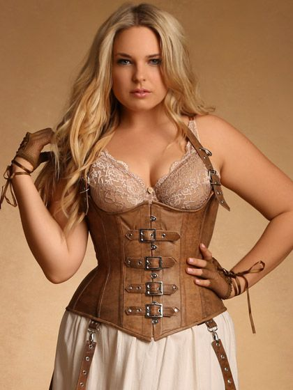Steampunk Plus Size Clothing - Ophelia Underbust Leather Brown Steampunk Corset $169.95 #setampunk #costume #plussize