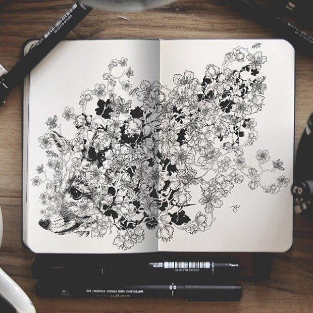 Artiste autodidacte et graphiste, Joseph Catimbang crée des dessins visuellement complexes en utilisant uniquement des stylos noirs et un carnet de croquis.  Les compositions, tentaculaires et surréalistes conjuguent harmonieusement divers sujets et styles artistiques, allant de représentations réalistes d'animaux à de petits personnages de dessins animés, le tout inspiré par la bande dessinée et les jeux vidéo. Ses illustrations utilisent une quantité minimale d'ombrages...