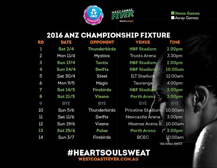 West Coast Fever > Fixtures